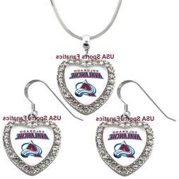 Colorado Avalanche 925 Necklace / Earrings or Set Team Heart