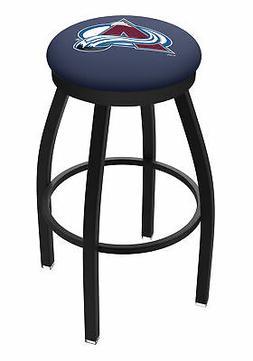 Colorado Avalanche HBS Black Swivel Bar Stool with Blue Cush