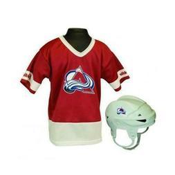 colorado avalanche hockey helmet and jersey top