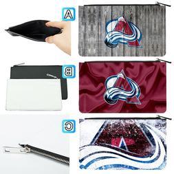 Colorado Avalanche Leather Pen Pencil Case Makeup Bag Pouch