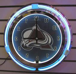 Colorado Avalanche Neon 2 Ringer Wall Clock Brand New