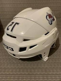 Colorado Avalanche White CCM Vector V08 Pro Stock Hockey Hel