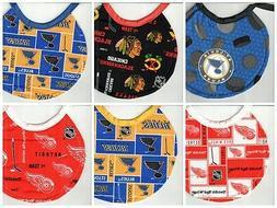 Handmade Newborn Bibs made with NHL fabric