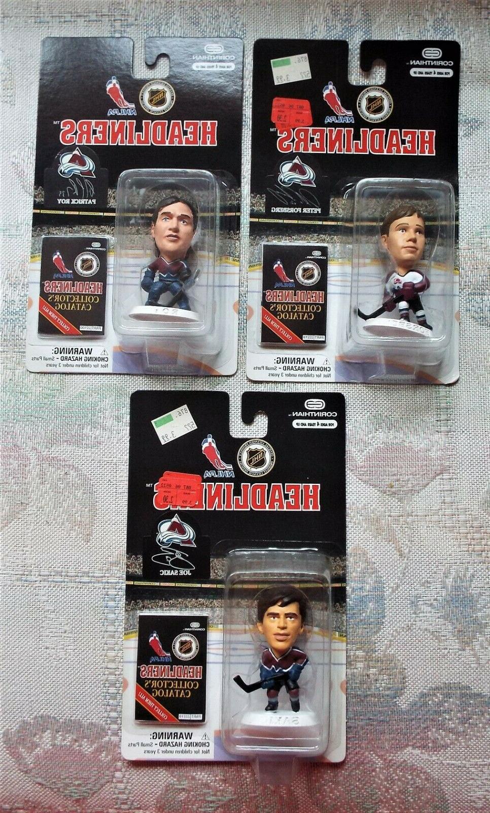 3 colorado avalanche headliner hockey figures forsberg