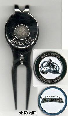 """Colorado Avalanche 1"""" Golf Ball Marker 2 sided with Divot To"""
