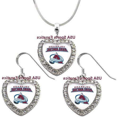 colorado avalanche 925 necklace earrings or set