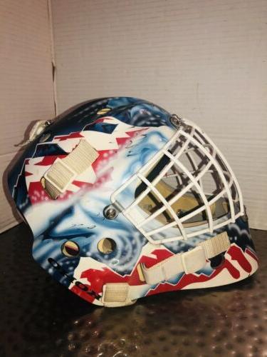 colorado avalanche adult hockey goalie helmet autographed