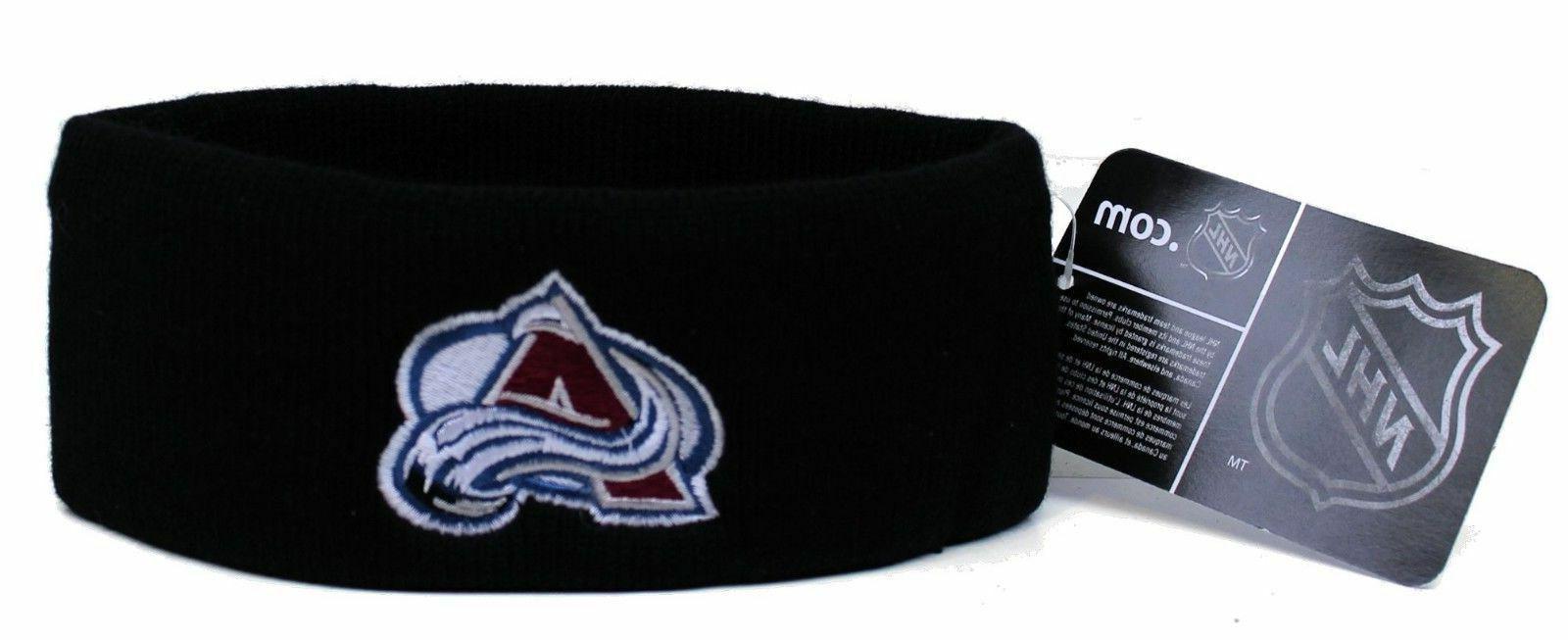 colorado avalanche black knit head band hat