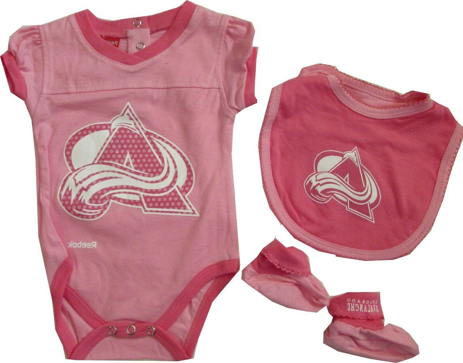 colorado avalanche girls pink 3pc creeper bib