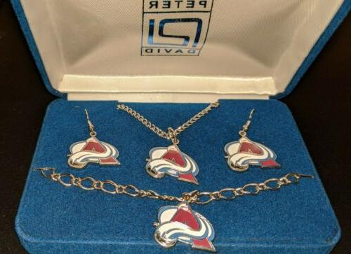 colorado avalanche jewelry set