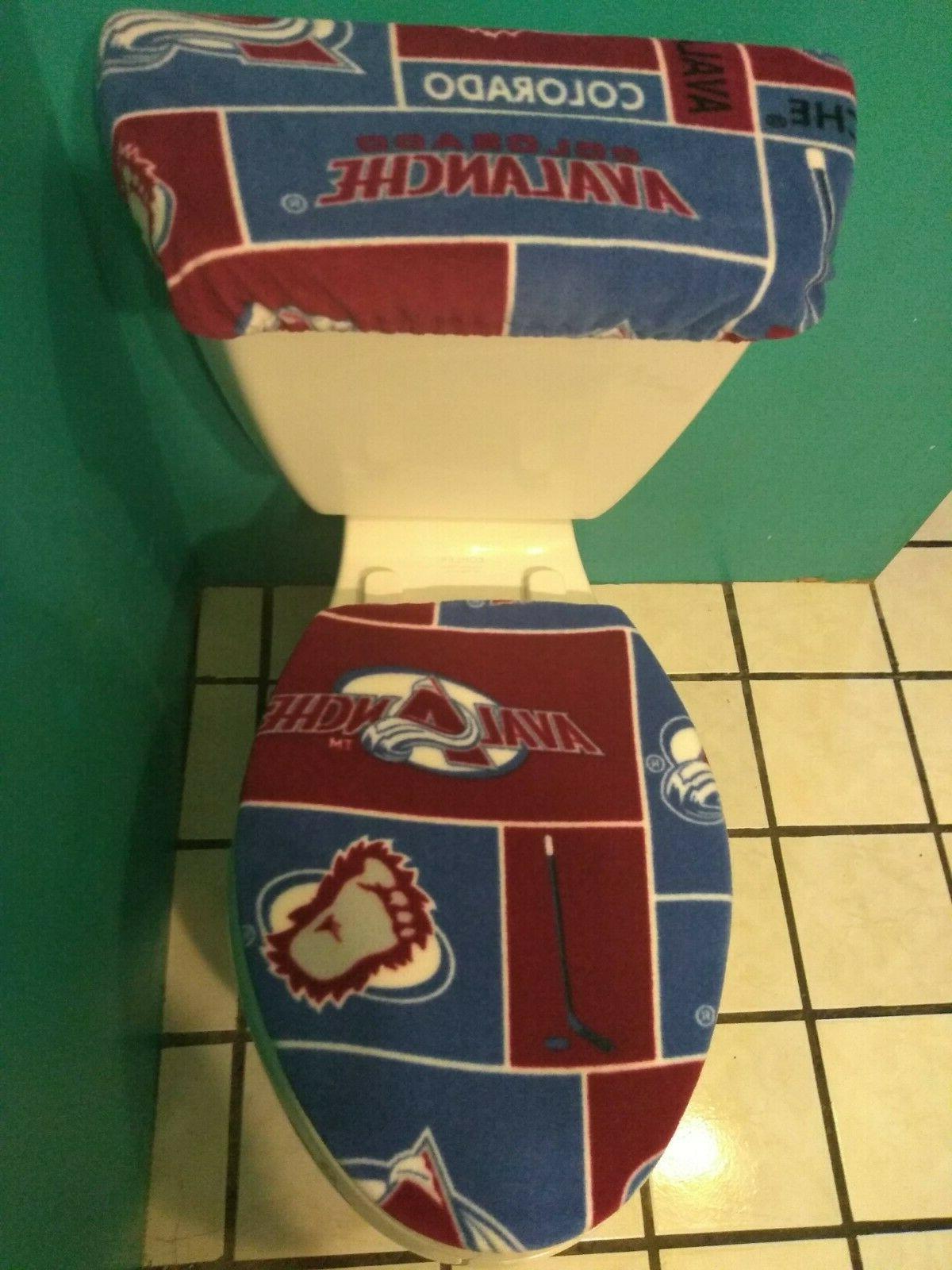 colorado avalanche squares fleece toilet seat cover