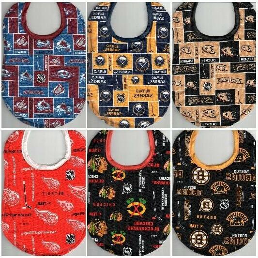handmade baby bibs made with nhl fabric