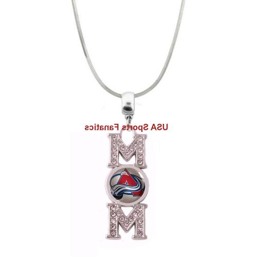 nhl colorado avalanche mom necklace with rhinestones