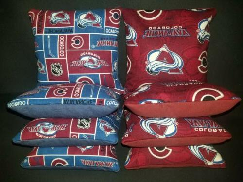 set of 8 colorado avalanche hockey cornhole