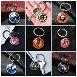 NHL American Ice Hockey Team Keychain Silver Keyring Car Key