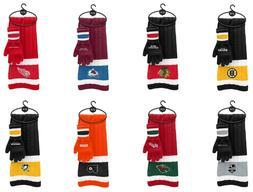 NWT NHL Assorted Teams Unisex Knit Scarf & Glove Gift Set w/