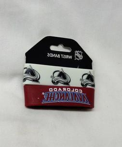 NHL Colorado Avalanche 2 Pack Bracelet Wrist Bands Set Rubbe