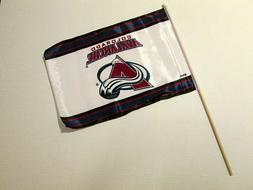 "NHL COLORADO AVALANCHE BANNER FLAG W/ STICK POLE 12""X17.5"","