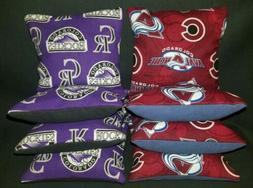 Set of 8 Colorado Avalanche hockey Rockies Cornhole Bags ***